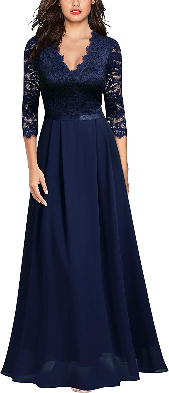 MISSMAY Women's Formal Floral Lace 2/3 Sleeves Long Evening Party Maxi Dress