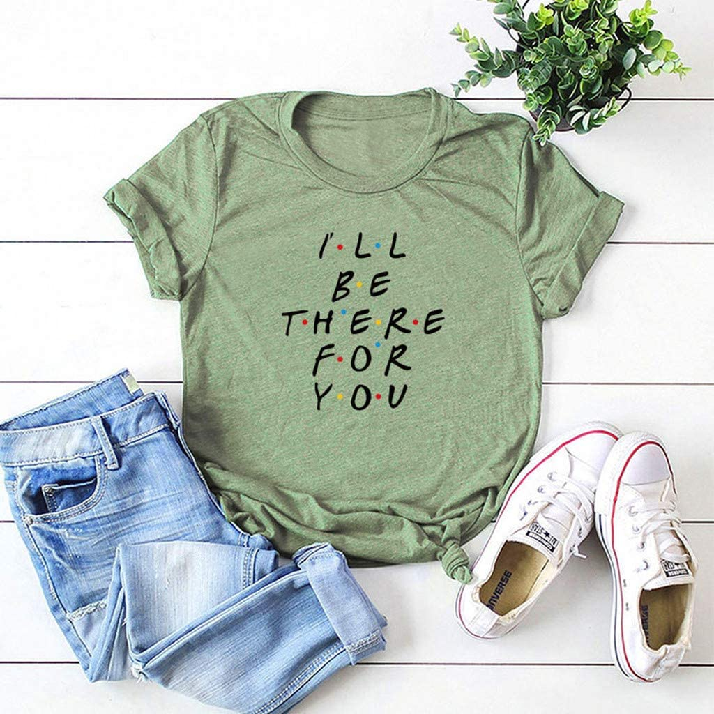 Womens Lightweight Short Sleeve Round Neck Letter Printed Blouses Tops Pullover T Shirts