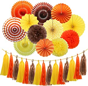Meiduo Fall Party Decorations Set Festival Thanksgiving Party Supplies, Orange Yellow Brown Hanging Paper Fans Pom Poms Flowers Tissue Tassel Garland for Autumn Harvest Time Home Decor