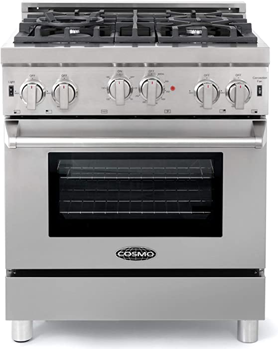 Cosmo GRP304 Gas Range with 4 Sealed Burner Rangetop, Single Convection Oven w/Light Heavy-Duty Metal Stove Heat Control & Cast Iron Grate | Free-Standing/Slide-In, 30-in, Stainless Steel