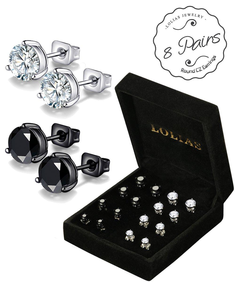 LOLIAS 8 Pairs Cubic Zirconia Stud Earrings for Men Women Earring Set 4-7 MM