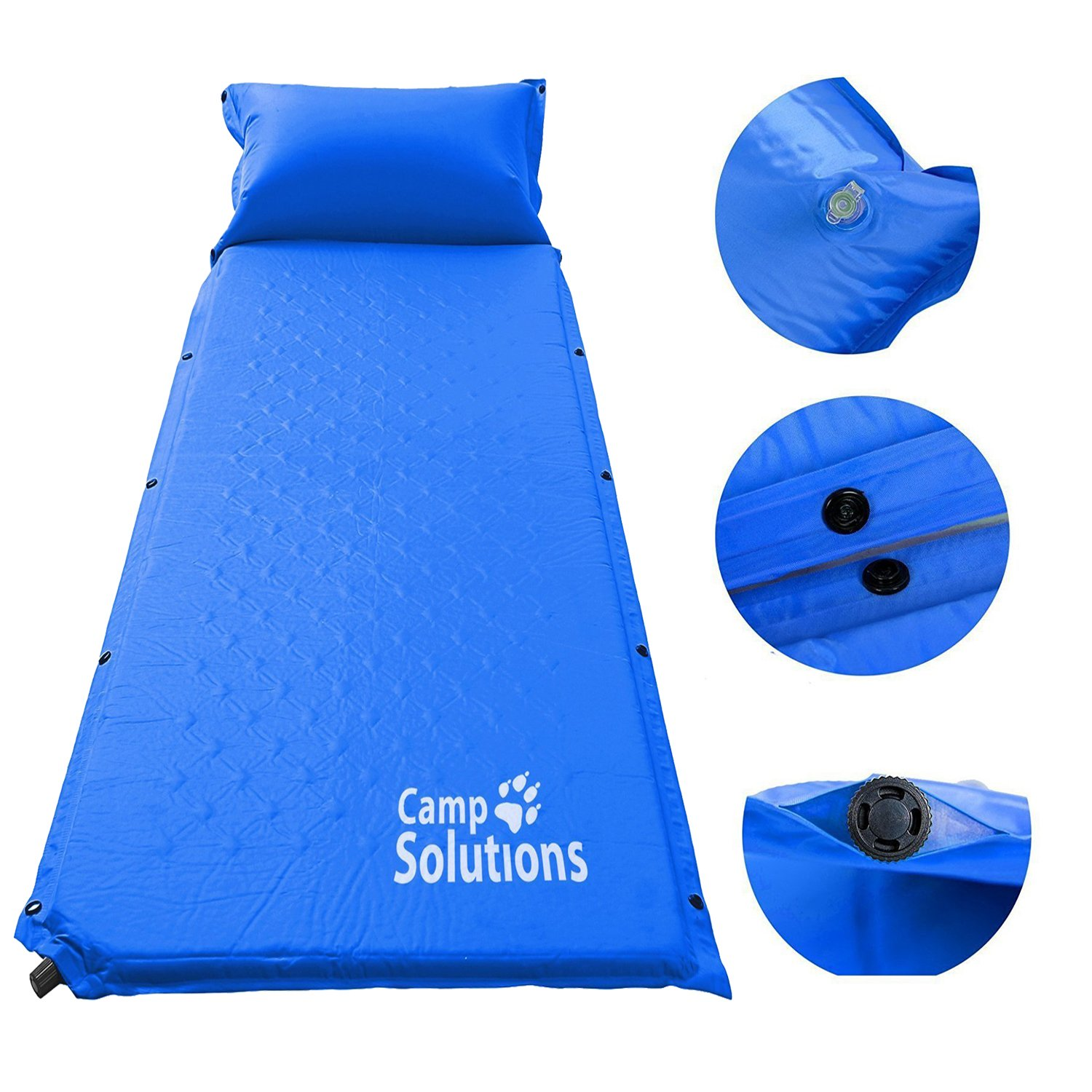 Amazon.com : Camp Solutions Camping Self Inflating Sleeping Pad with  Attached Pillow - Lightweight Air Sleeping Pads : Sports & Outdoors