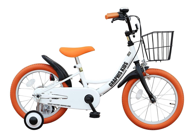 GRAPHIS(グラフィス) 補助輪付き子供用自転車 GR-16 B00HSD8WSO 16インチ|ホワイトオレンジ ホワイトオレンジ 16インチ