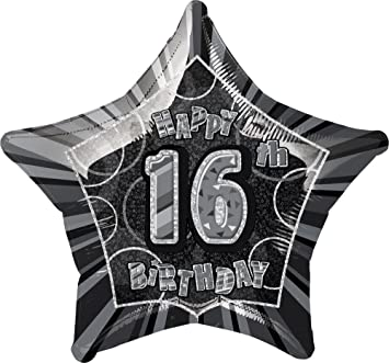 GLITZ BLACK AGE 16 HANGING SWIRL DECORATION HAPPY BIRTHDAY PARTY HOLOGRAPHIC