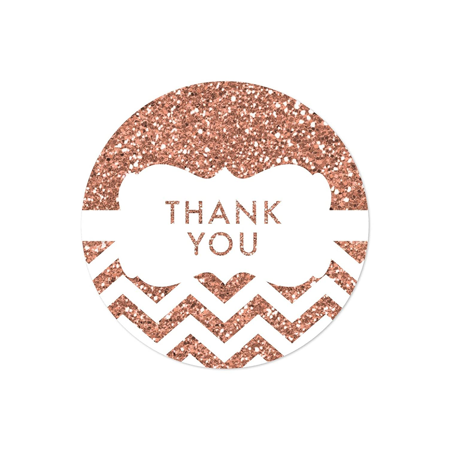 Amazon com andaz press round 2 inch circle label stickers faux rose gold glitter chevron frame thank you 40 pack health personal care