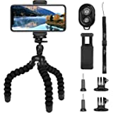 PEMOTech Upgraded Phone Tripod Compatible for iPhone Xs Max XR, Octopus Tripod +2 PACK Adapters Compatible for Gopro Camera +Wireless Remote Control +Smartphone Holder Compatible for iPhone X 8 Plus/8 7/7 Plus Samsung Galaxy S9/S8 Note 9/8