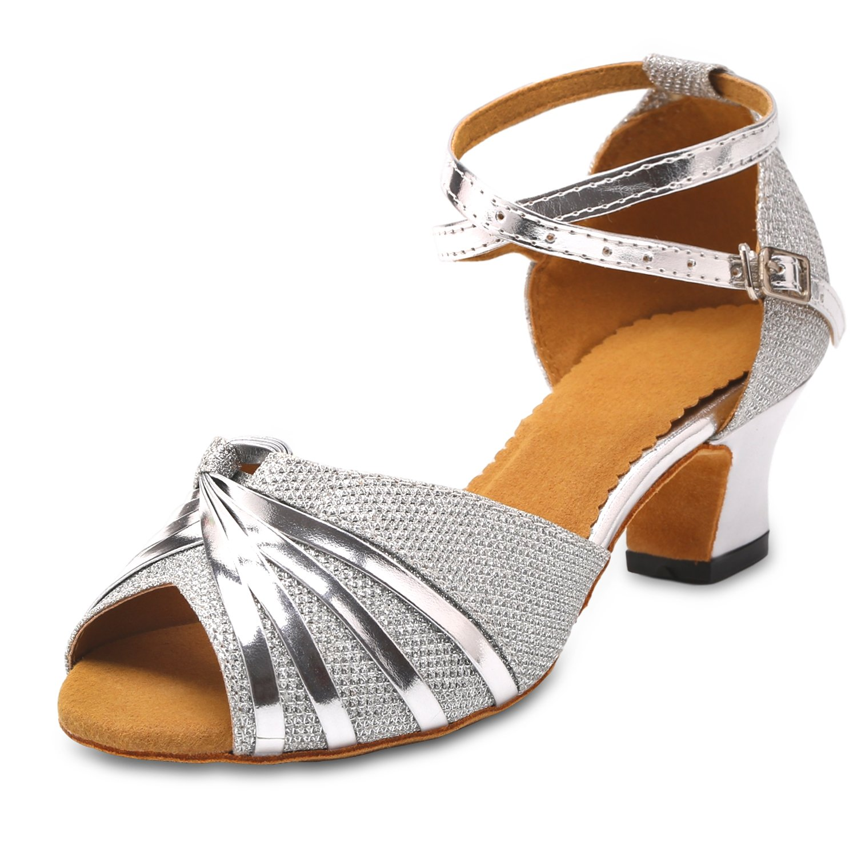 KAI-ROAD Ballroom Dance Shoes Women 2 inch Heel Wedding Shoe Salsa Latin Dance Heels for Practice, Silver (8 M US)