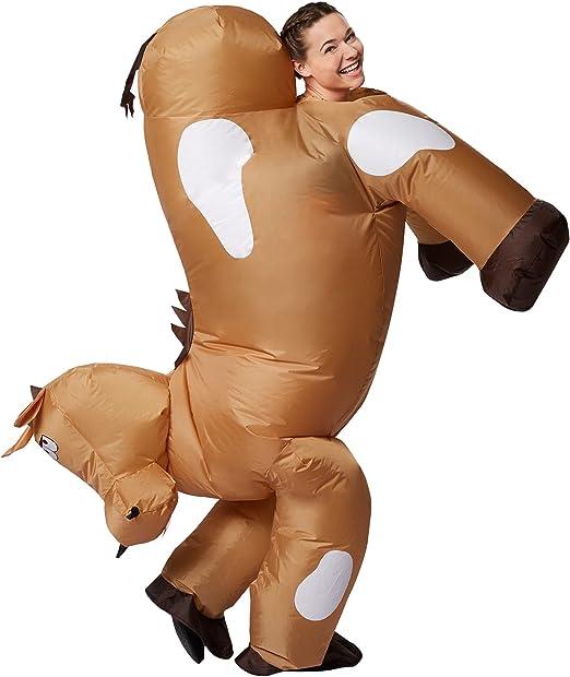 dressforfun Disfraz de Caballo Inflable Adulto   Funciona con Pilas   Máxima Libertad de Movimiento