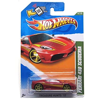 Amazon Hot Wheels 2012 Ferrari 430 Scuderia Car Red Treasure