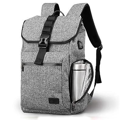 a3cae2893e53 Amazon | ZZINNAリュックサック メンズ USBポット 撥水性 防水保温ポケットある 高校生 通学 バックパック 大容量 おしゃれ  スクエア型 15.6インチPC収納可 グレー ...