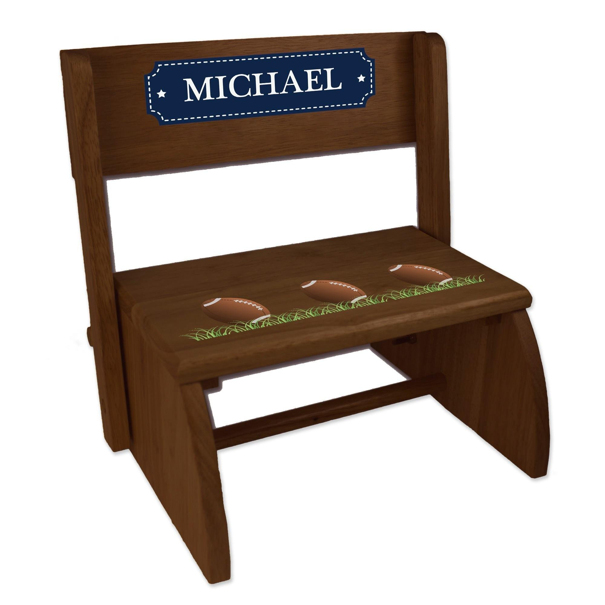 Personalized Footballs Espresso Wooden Folding Stool and Seat