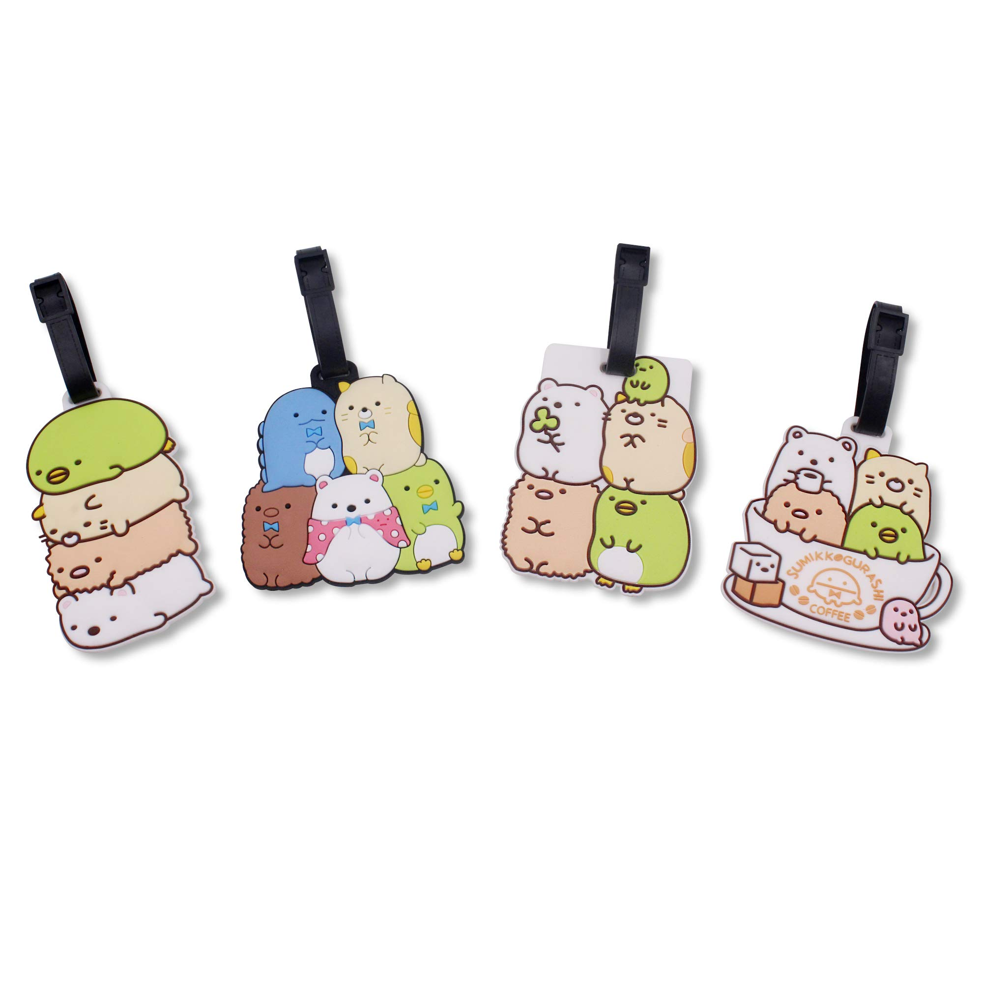 Finex Set of 4 San-X Sumikko Gurashi Things in The Corner Travel Luggage Baggage Identification Labels ID Tag for Bag Suitcase Plane Cruise Ships with Adjustable Strap by FINEX