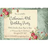 The Save Date People 50 PARTY INVITATIONS Personalised For You Vintage Floral Birthday Invites
