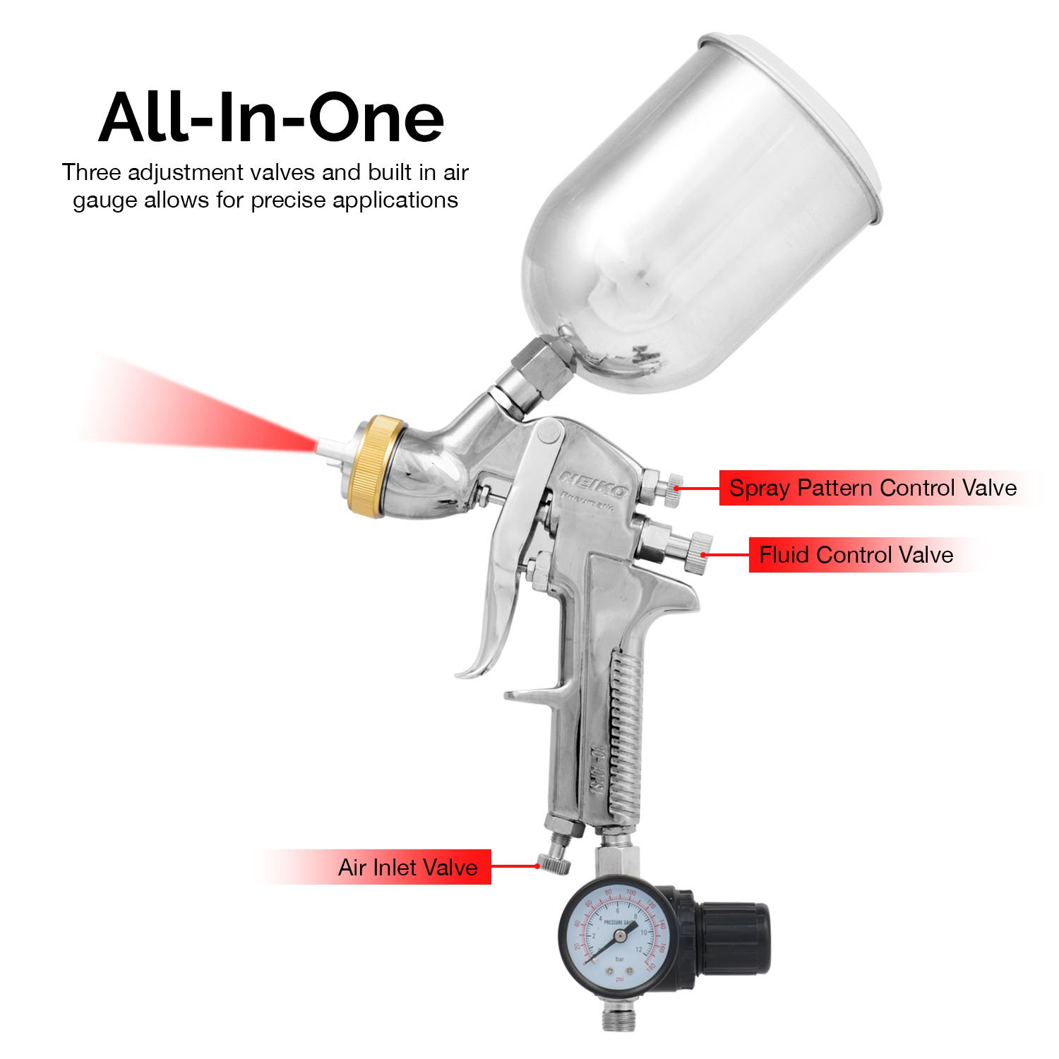 Neiko 31215A HVLP Gravity Feed Air Spray Gun | 1.7mm Nozzle Size | 600cc Aluminum Cup by Neiko (Image #3)
