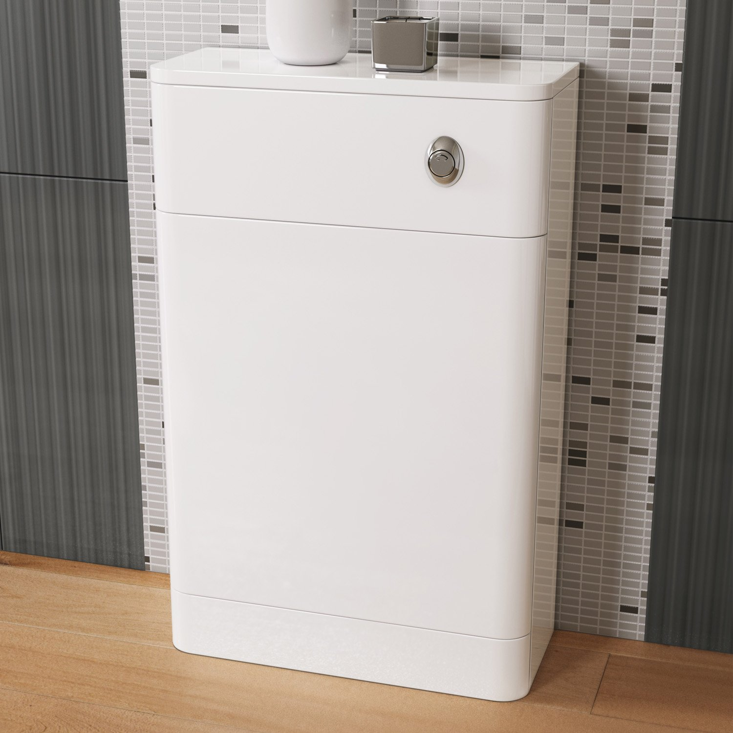 300 x 200 mm White Back To Wall Toilet Slim Concealed Cistern Unit Bathroom Furniture iBathUK