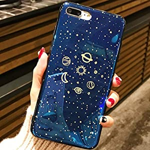 for iPhone 7 Case iPhone 8 Case LAPOPNUT Glitter Outer Space Planets Design Astronaut Cartoon Star Galaxy Spaceman Shockproof Flexible Soft TPU Bumper Protective Case, Stars