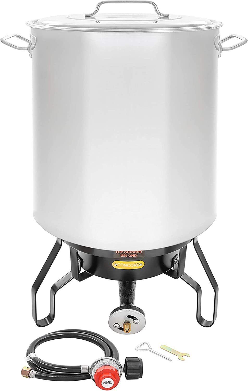 Concord Home Brew Stainless Steel Kettle with Single Burner Stand Set (180 Quart)