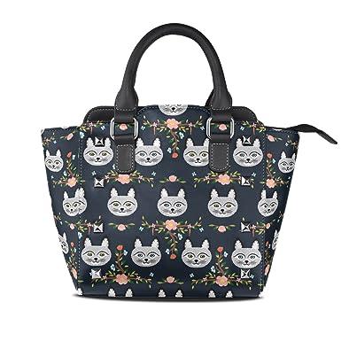Amazon.com: ALAZA estampado Floral gatito gato remache PU ...