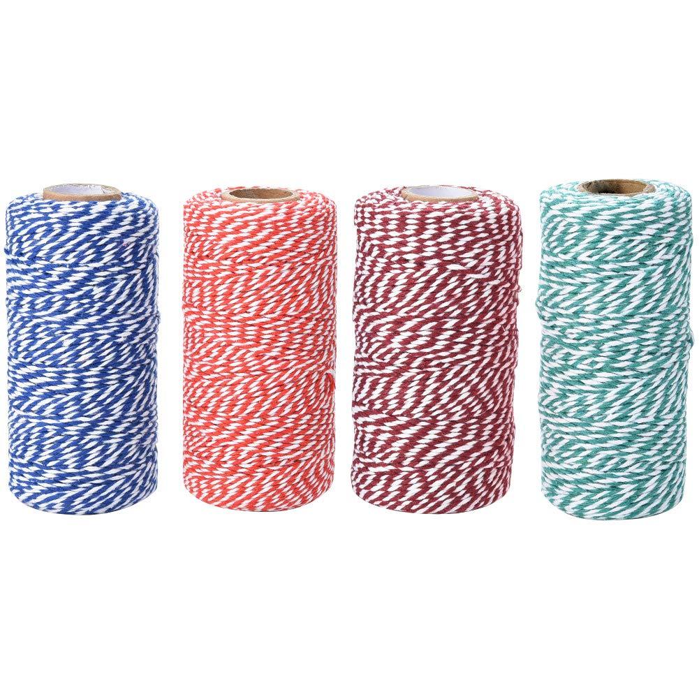 2 mm de Espesor Rojo Blanco Azul Manualidades DIY Hornear Jalan Cord/ón de panader/ía 4 x 100 m Cord/ón de algod/ón para Envolver Regalos decoraci/ón navide/ña Verde