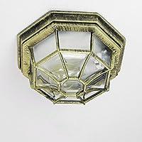 Rustikale Außen Deckenleuchte Außenlampe in antik gold E27 bis 100W IP54 für Garten Hof Außenleuchte Deckenlampe Beleuchtung
