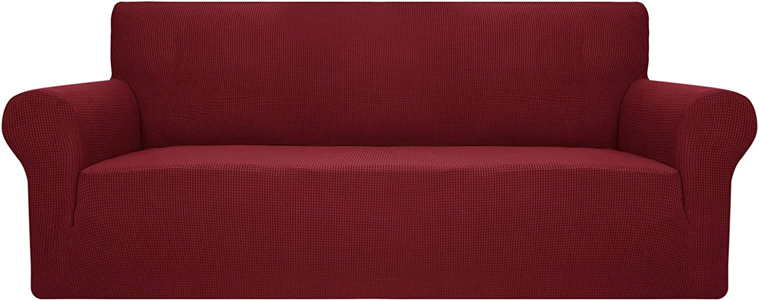 YUUHUM Sofa Cover Stretch Jacquard Couch Covers for 3 Cushion Couch Universal Fitted Sofa Slipcovers Living Room Non Slip Spandex Furniture Protector with Elastic Bottom (Sofa, Wine Red)