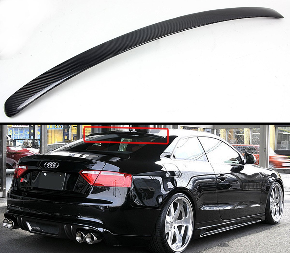 Cuztom Tuning Fits for 2009-2017 Audi A5 Quattro S5 RS5 VIP Carbon Fiber Rear Roof Window Spoiler Wing