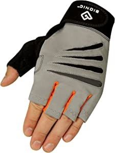BIONIC Glove Men's Cross-Training Fingerless Gloves w/Natural Fit Technology, Gray/Orange (Pair)