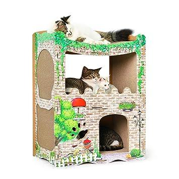 DJLOOKK Cato con Rascador Casa de Gato Corrugado Casa de Gato Grande Creativo Escalada Marco Gato Junta de rasguño Gato Juguete de la Garra,A: Amazon.es: ...