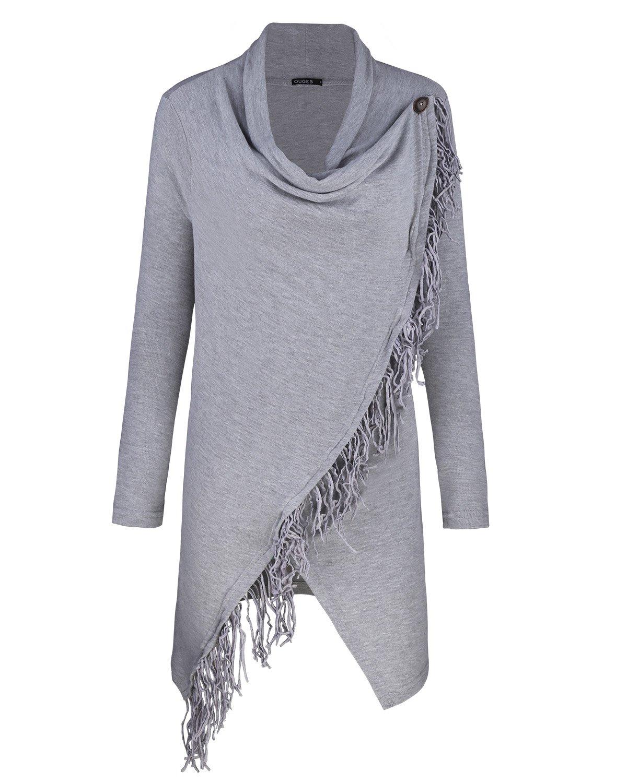 OUGES Women's Long Sleeve Tassel Hem Knitted Sweater Coat Outwear(Gray,XL)