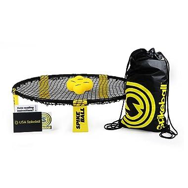 Spikeball 4 Ball Kit Includes Playing Net, 4 Balls, Drawstring Bag & Rule Book, Black/Yellow