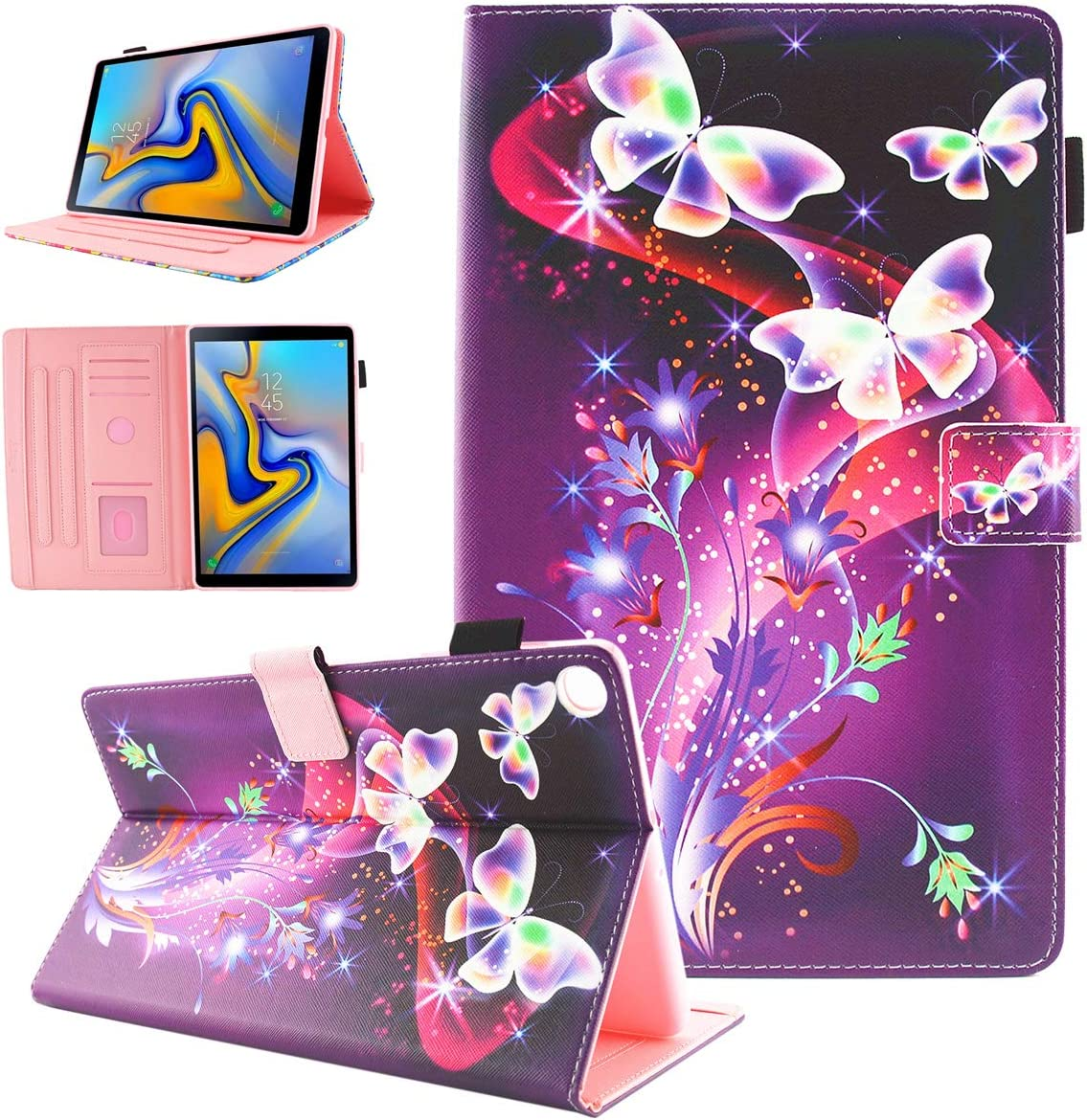 Samsung Galaxy Tab A 10.1 2019 Case, Alugs Multi-Angle Viewing Protective PU Leather Folio Cover for Samsung Galaxy Tab A 10.1 Inch SM-T510/SM-T515 2019 Release Tablet, Buttefly Flower