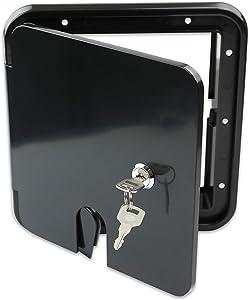 RV Camper Trailer Motorhome Power Cord Hatch Electrical Access Door (Black-1803SB)