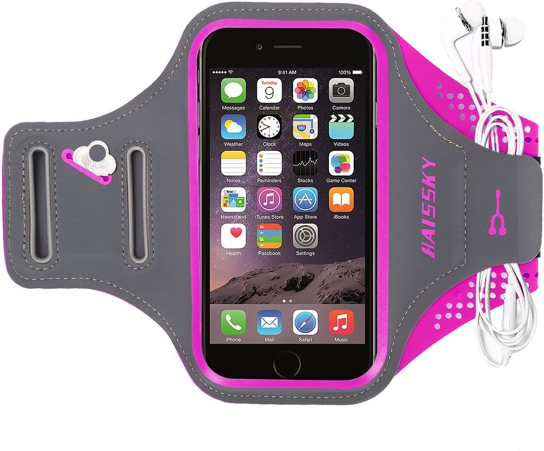 Haissky Brazalete Deportivo para Correr Brazalete Deportivo Armband con Llavero y Correa Ajustable para iPhone 11 Pro Max/11 Pro X/8 Plus y Otros teléfonos Inteligentes de Menos de 6.5