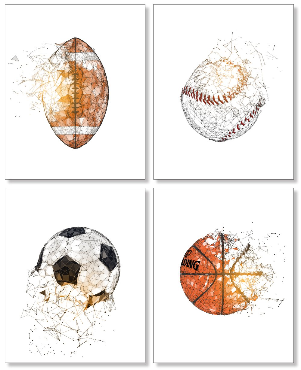 Kids Room Sports Posters - Football Baseball Soccer Basketball Wall Decor - 8x10 Unframed Set of 4 Art Prints