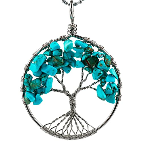 Shanxing Chakra Tree Of Life Stone Pendant,Healing Crystal Wire Wrapped