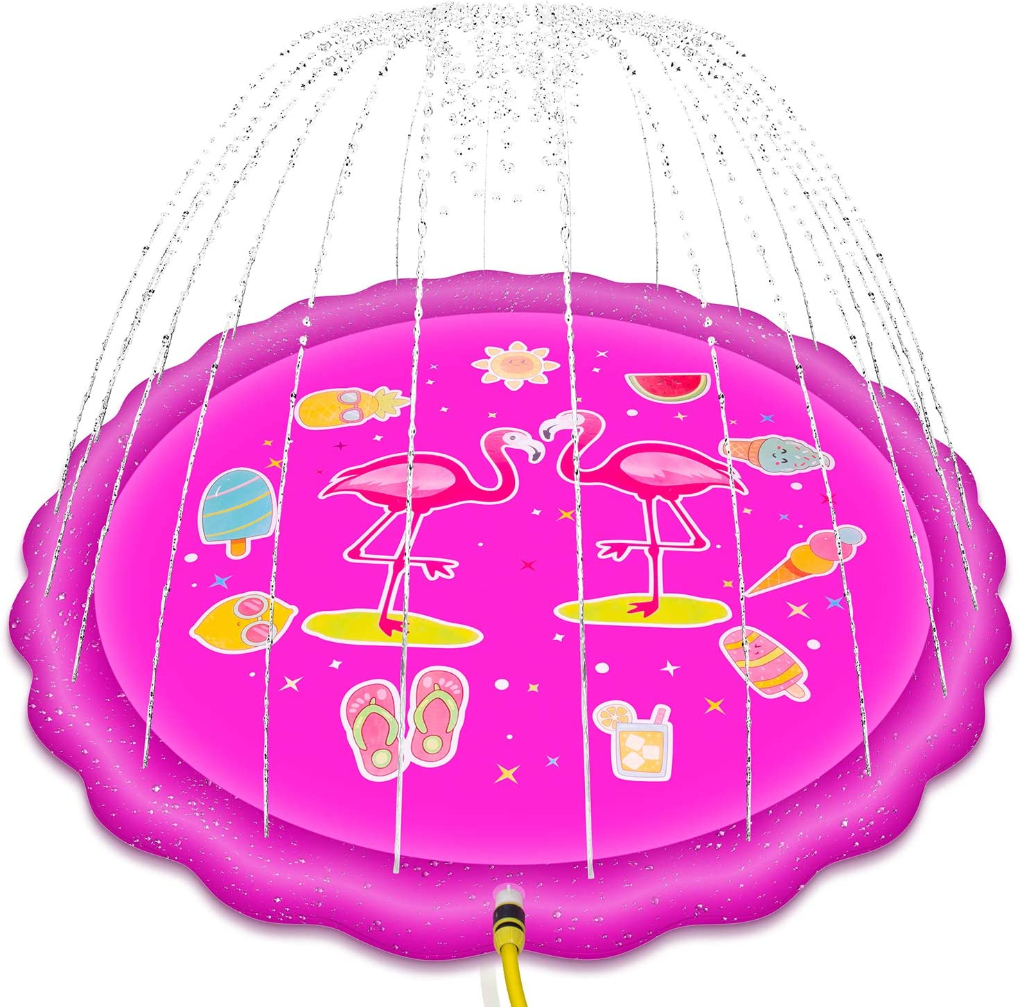 """Tyhocent Sprinkler for Kids, 68"""" Inflatable Splash Pad & Wading Pool for Kids, Flamingo Pattern Summer Fun Backyard Fountain Play Mat – Outdoor Kiddie Pool for Babies & Toddlers"""