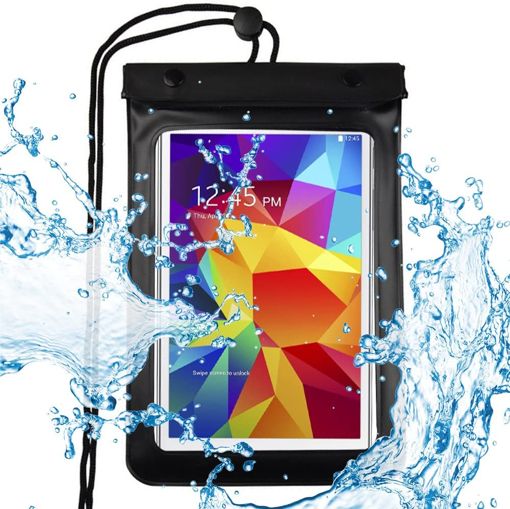 eBuymore 7-8'' Tablets Waterproof Pouch Bag Case for Samsung Galaxy Tab E 8.0 / Tab 4 7.0/8.0 / Tab A 8.0 / New Dell Venue 7 / Dell Venue 8 Pro/HP Slate 8 Pro/HP 8 G2 Tablet (Black)