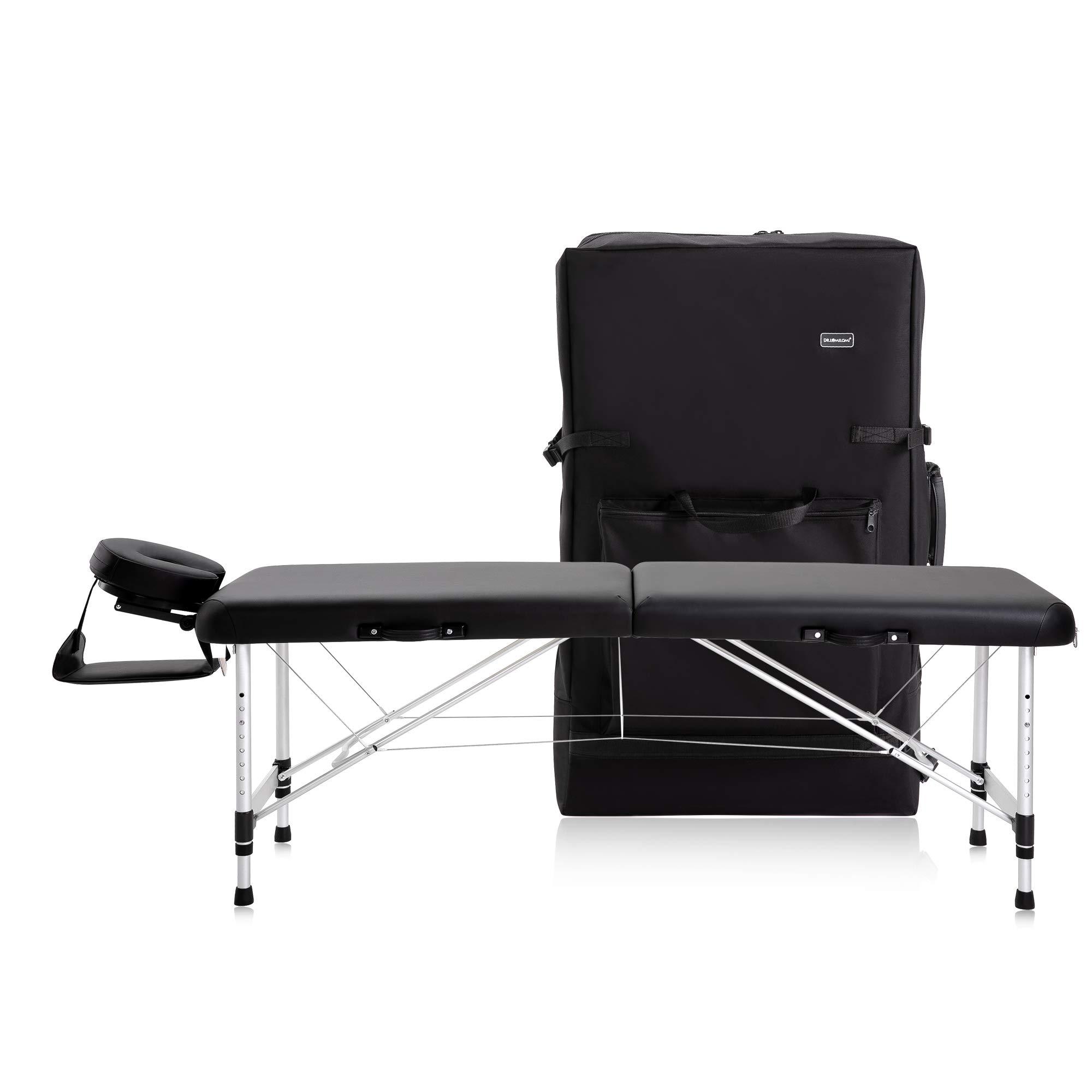 "DR.LOMILOMI Ultra-light Travel-sized Aluminum Portable Massage Table Spa Bed 302 - HALIA (W22"" X L71"", Black)"