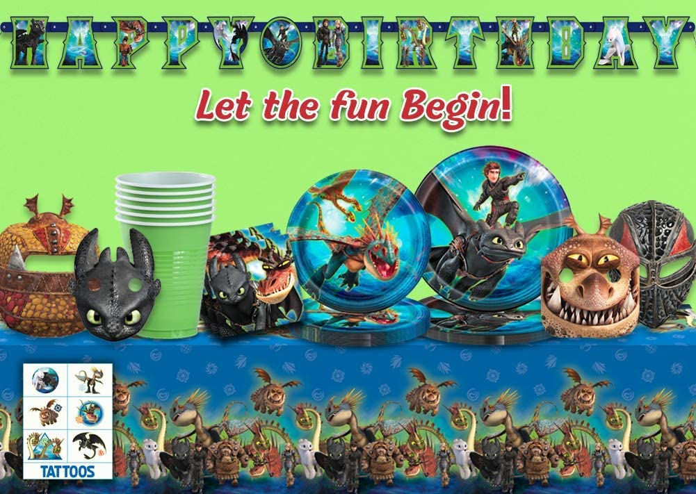 Tattoos- Great Tableware Set w// Hiccup Cups Large Plates Dessert Plates How To Train Your Dragon Party Supplies for 16 Table cover Masks Astrid Napkins Toothless /& Stormfly Happy Birthday Joint Banner