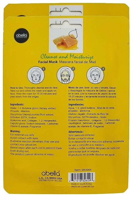Amazon.com : Abella Cosmetic Essence Facial Mask Paper Sheet Korea Skin Care Moisturizing - 2 Pack, Honey : Beauty