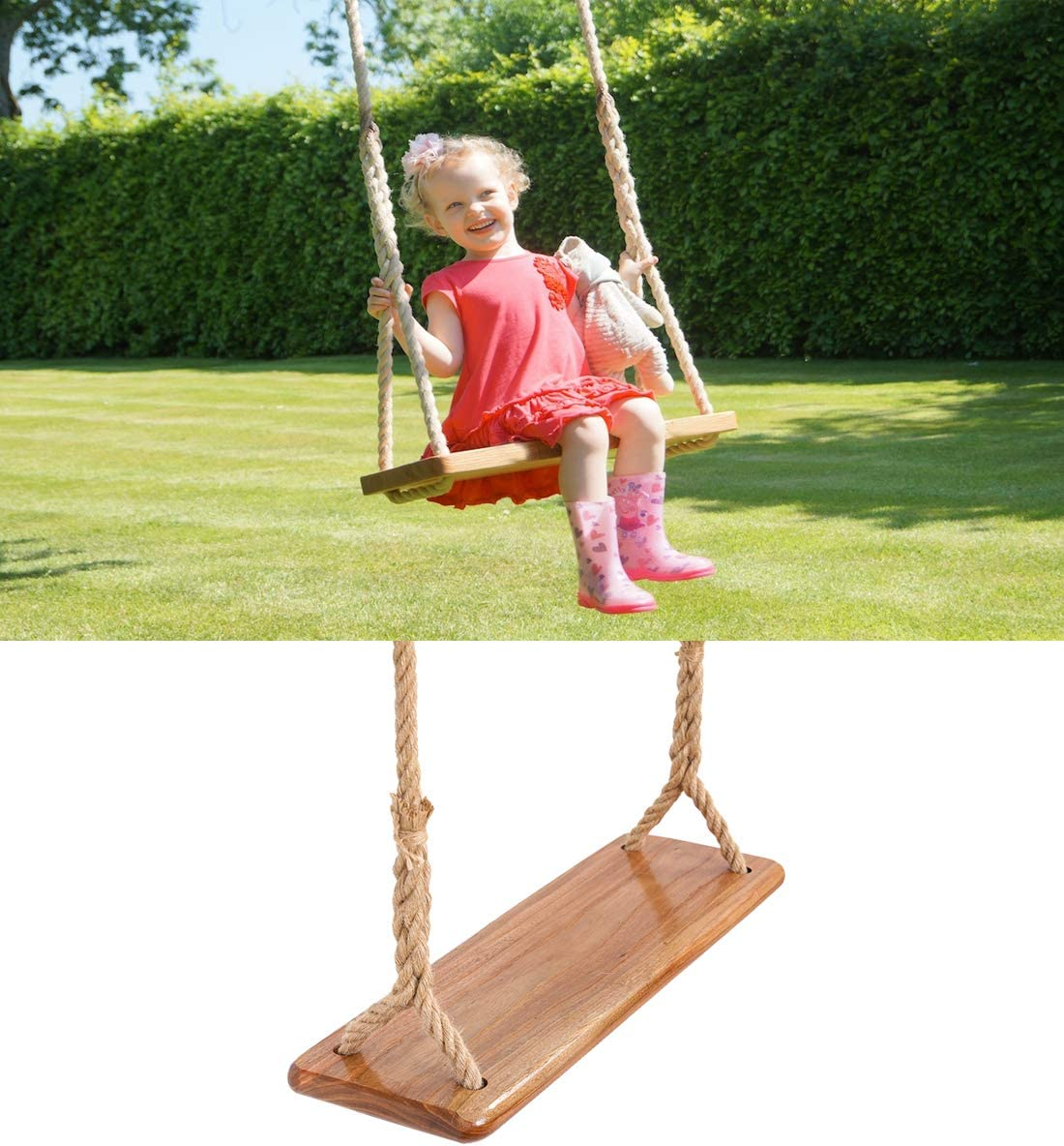 Tree Swing Seat Hanging Wooden Tree Swings for Children Kids Garden,Yard, Indoor, Elm Wood Durable Can Withstand 440IB,Kide Swings(15.76.3IN)