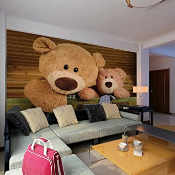 Colomac Wall Mural 3D Cartoon Lovely Bear Mural Suitable For Living Room  Sofa TV Background Bedroom