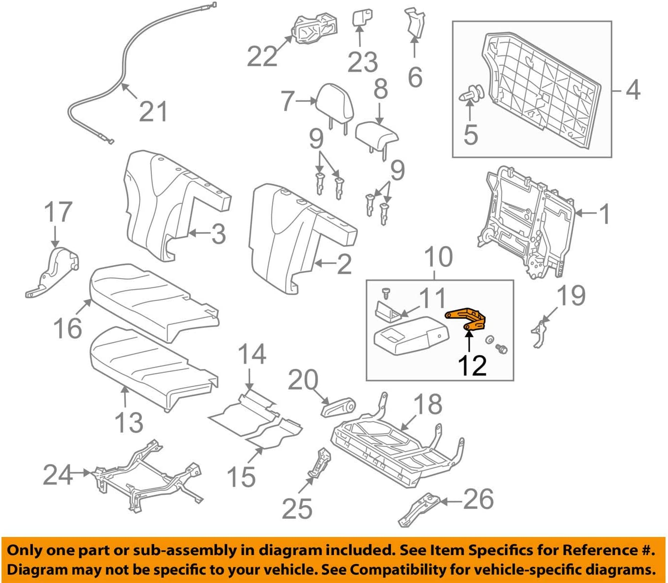 TOYOTA Genuine 71346-0T020 Seat Back Hinge
