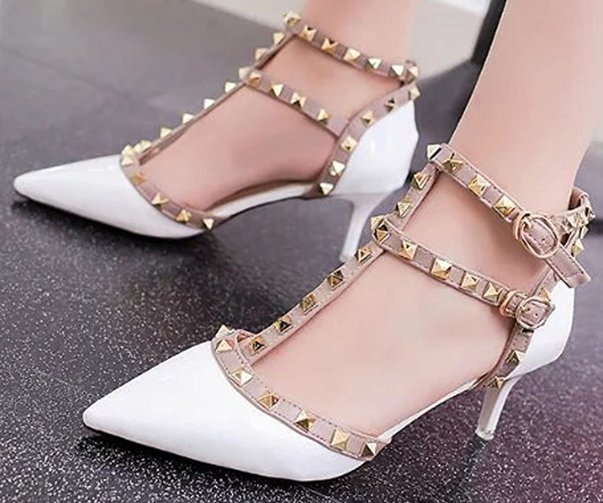 c4f86088124 WAROFT Lady s Sexy Rivet Studded Closed Toe Mid Kitten Heel Dress Shoes  Strappy Party Pumps  Amazon.co.uk  Shoes   Bags