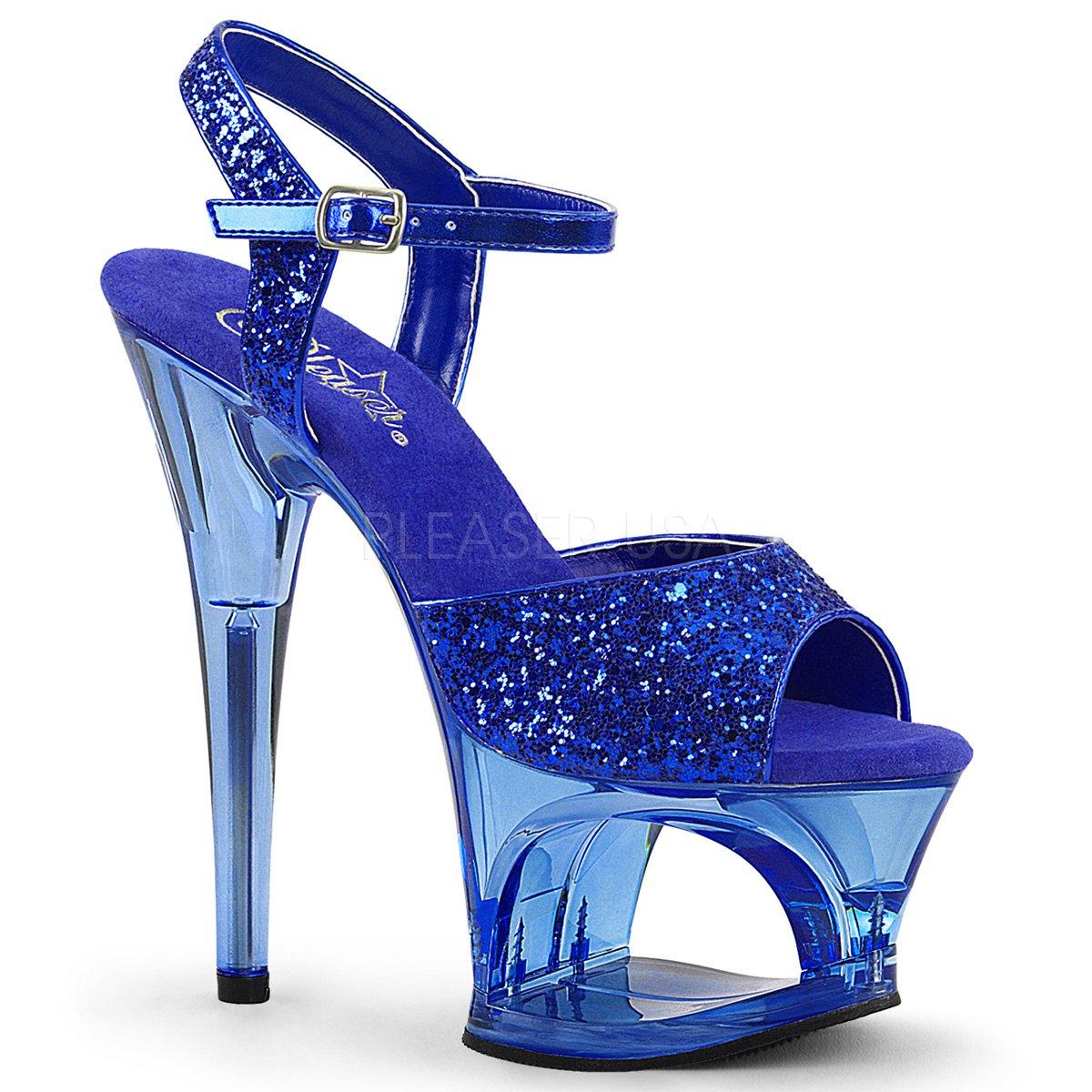 Pleaser Damen Moon-728 Offene Sandalen Blau Glitter/Blau Tinted
