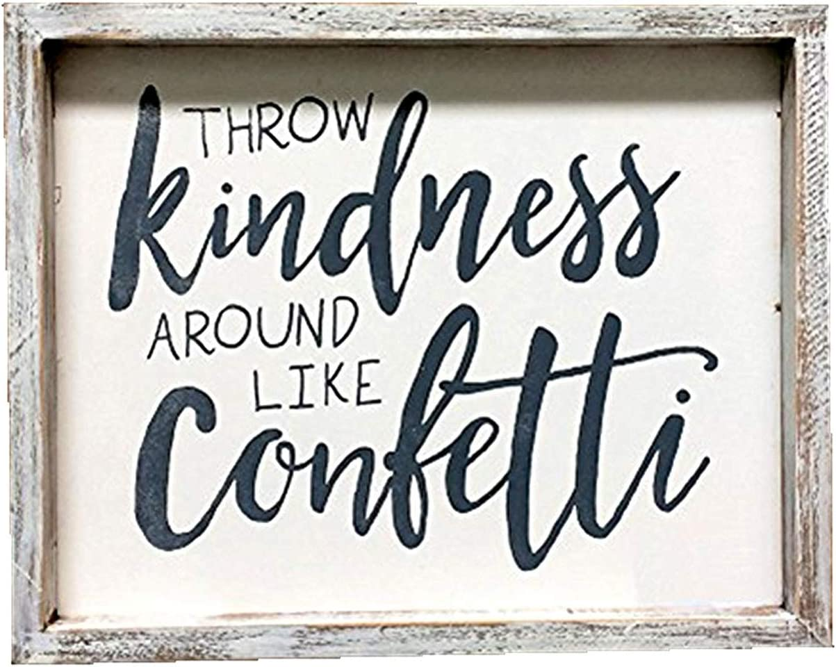 Throw Kindness Around Like Confetti Wood Wall Framed Sign, Inspirational Sign for Home Decor, Farmhouse Rustic Wood Wall Decor,Whitewashed, 10x1x8inches