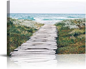 NWT Canvas Wall Art Path Green Beach Sea Water Painting Artwork for Home Prints Framed - 16x24 inches