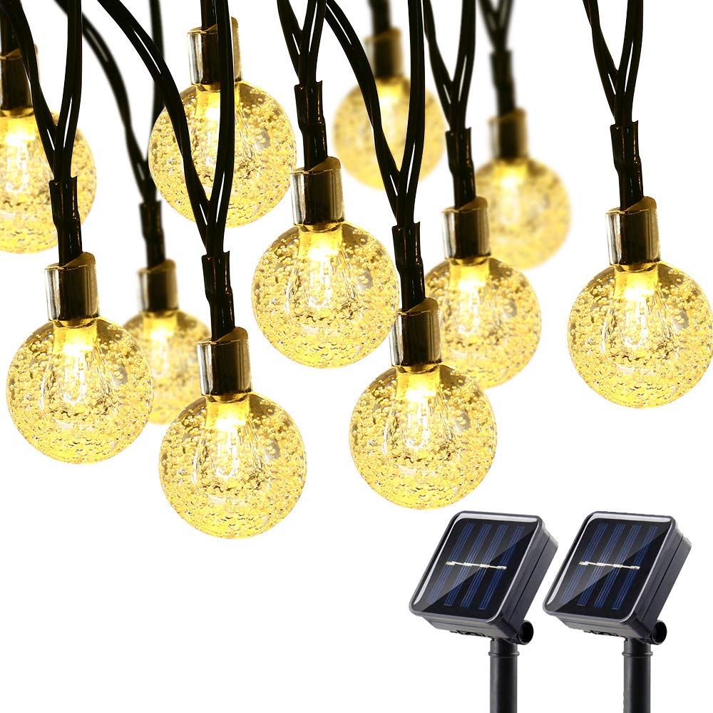 Brizled 2 Pack Solar Globe String Lights, 21.33ft 30 LED Outdoor String Lights, Waterproof 8 Modes Crystal Ball Solar Light String for Yard Patio Garden Wedding Pergola Gazebo Bistro Party, Warm White
