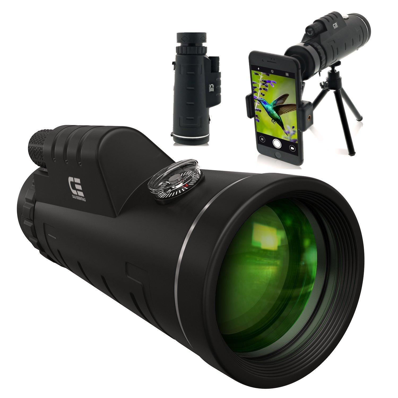 CE Optics 12X50 Monocular Telescope - High Powered BAK4 Prism Scope Smartphone Tripod Mount Adapter, Perfect Birdwatching, Hiking, Wildlife, Concerts
