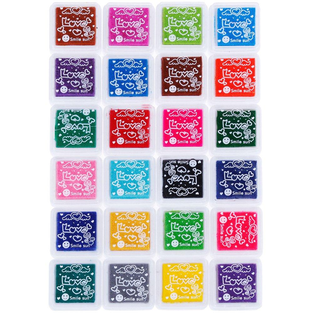 Faburo - Set di 24 tamponi inchiostrati per timbri, Stamp Pad, Impronta delle Dita, per Carta Artigianale, Tessuto, Impronte digitali, Scrapbook, Pittura
